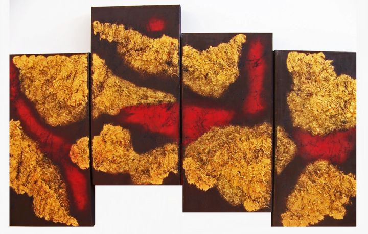 Kissed by the Sun---Staggered Quadtych - Painting,  30x50x2.5 in ©2017 by jo moore -                                                                                                                                                            Abstract Art, Abstract Expressionism, Contemporary painting, Expressionism, Minimalism, Canvas, Abstract Art, Aerial, Colors, Landscape, Spirituality, texture, impasto, gold, quadtych, multi-panel, minimalism, museum profile