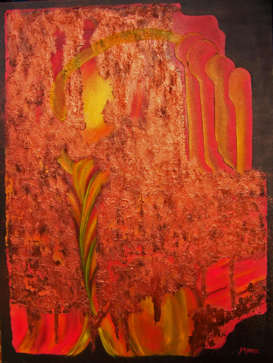 The Mist of Time - Painting,  40x30x1.5 in ©2017 by jo moore -                                                                                                                                                                        Abstract Art, Abstract Expressionism, Contemporary painting, Impressionism, Minimalism, Canvas, Abstract Art, Aerial, Angels, Colors, Nature, Time, texture, impasto, cold wax, minimalism, copper pigment