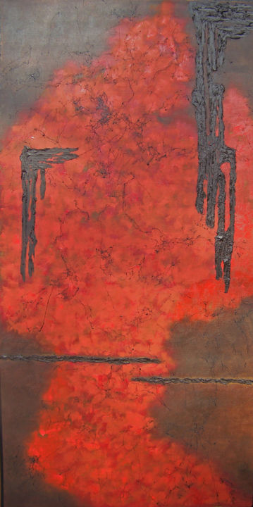 A Broken Hallelujah - Painting,  48x24x1.5 in ©2017 by jo moore -                                                                                                                                                                        Abstract Art, Abstract Expressionism, Contemporary painting, Expressionism, Minimalism, Canvas, Abstract Art, Aerial, Colors, Landscape, Nature, Spirituality, texture, impasto, color field, minimalism, cold wax