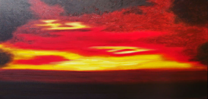 First Spill of Light - Painting,  24x48x1.5 in ©2017 by jo moore -                                                                                                                                                                        Abstract Art, Abstract Expressionism, Contemporary painting, Impressionism, Minimalism, Canvas, Abstract Art, Aerial, Colors, Landscape, Light, Spirituality, abstract, impressionistic, landscape, morning light, sky