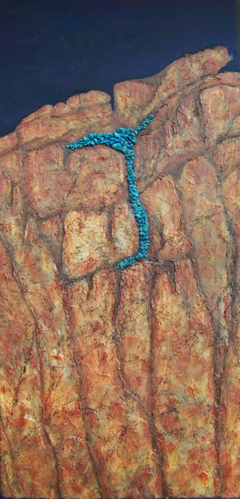 Turquoise Trail - Painting,  48x24x1.5 in ©2018 by jo moore -                                                                                                                                                            Abstract Art, Abstract Expressionism, Contemporary painting, Expressionism, Minimalism, Canvas, Abstract Art, Landscape, Mountainscape, Nature, Spirituality, texture, impasto, cold wax, geologic, landscape, stone, turquoise