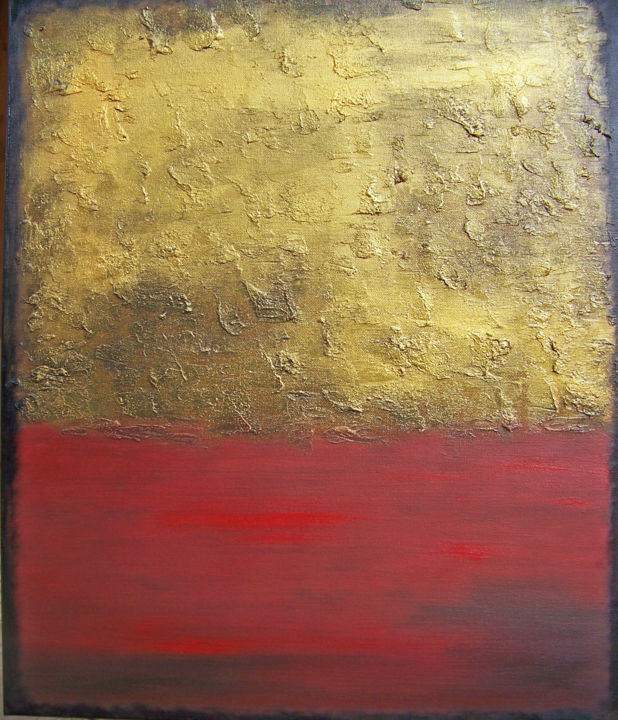 Gold on the Horizon - Painting,  24x20x1.5 in ©2018 by jo moore -                                                                                                                                                                        Abstract Art, Abstract Expressionism, Contemporary painting, Expressionism, Minimalism, Canvas, Abstract Art, Aerial, Colors, Landscape, Nature, Spirituality, texture, impasto, color field, landscape, horizon