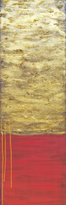 Gold on the Horizon II - Painting,  36x12x1.5 in ©2018 by jo moore -                                                                                                                                                            Abstract Art, Abstract Expressionism, Contemporary painting, Expressionism, Minimalism, Canvas, Abstract Art, Colors, Language, Light, Nature, texture, impasto, landscape, color field, gold pigment, cold wax