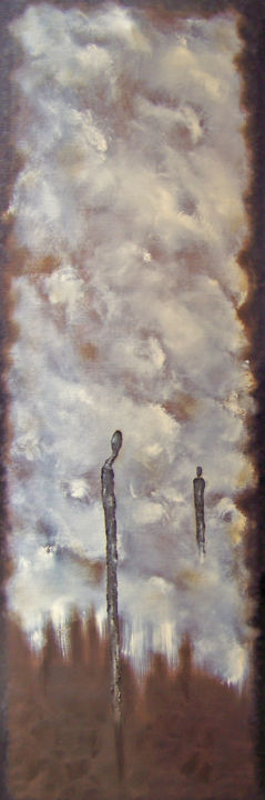 Philosophers Path XXV - Painting,  36x12x1.5 in ©2018 by jo moore -                                                                                                                                                                                    Abstract Art, Abstract Expressionism, Contemporary painting, Figurative Art, Impressionism, Minimalism, Canvas, Abstract Art, Family, Landscape, Light, Nature, Spirituality, texture, encaustic, figurative, shaman, landscape, color field