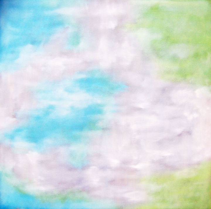 Softly Waking in Blue and Green - Painting,  30x30x1.5 in, ©2018 by Jo Moore -                                                                                                                                                                                                                                                                                                                                                                                                                                                                                                                                                                                                                                                                                  Abstract, abstract-570, Abstract Art, Aerial, Landscape, Light, Spirituality, SOFT, CLOUDS, SKY, LANDSCAPE, BLUE GREEN, MINIMALISM, IMPRESSIONISM