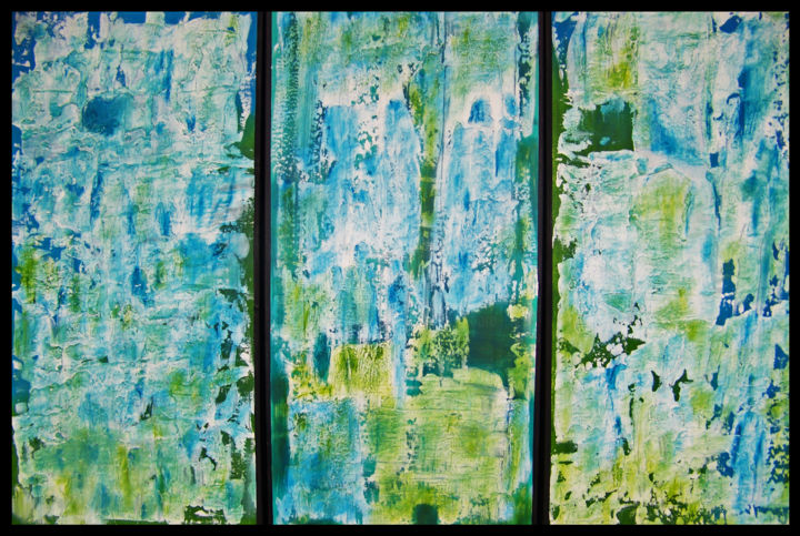 Santa Fe Summer--Tripych - Painting,  24x36x2.5 in ©2019 by jo moore -                                                                                                                                                                        Abstract Art, Abstract Expressionism, Contemporary painting, Expressionism, Minimalism, Canvas, Abstract Art, Aerial, Colors, Landscape, Nature, Spirituality, abstract, color field, triptych, blue green, summer, texture