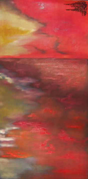 Prelude I - Painting,  48x24x1.5 in, ©2019 by Jo Moore -                                                                                                                                                                                                                                                                                                                                                                                                                                                                                                                                                                                                                                      Abstract, abstract-570, Abstract Art, Colors, Language, Light, Nature, landscape, color field, abstract, minimalism, sky, clouds