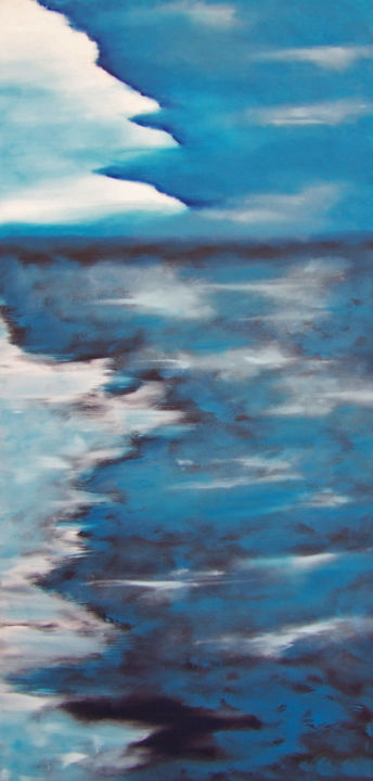 Loves Illusions - Painting,  36x18x1.5 in ©2019 by jo moore -                                                                                                                                                                                    Abstract Art, Abstract Expressionism, Contemporary painting, Expressionism, Impressionism, Minimalism, Canvas, Abstract Art, Aerial, Colors, Landscape, Light, Nature, abstract, landscape, color field, sky, clouds