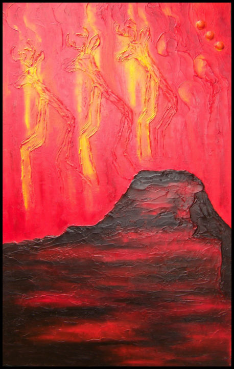 Orion's Gift at Fajada Butte - Painting,  24x1.5x36 in, ©2014 by Jo Moore -                                                                                                                                                                                                                                                                                                                                                                                                                                                                                                                                                                                          Abstract, abstract-570, Abstract Art, Outer Space, World Culture, Chaco Canyon, Fajada Butte, texture, impasto, Orion, heavenly, world culture