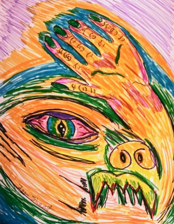 Monster - Drawing,  11x8.5 in, ©2019 by Joan Short -                                                              Fantasy