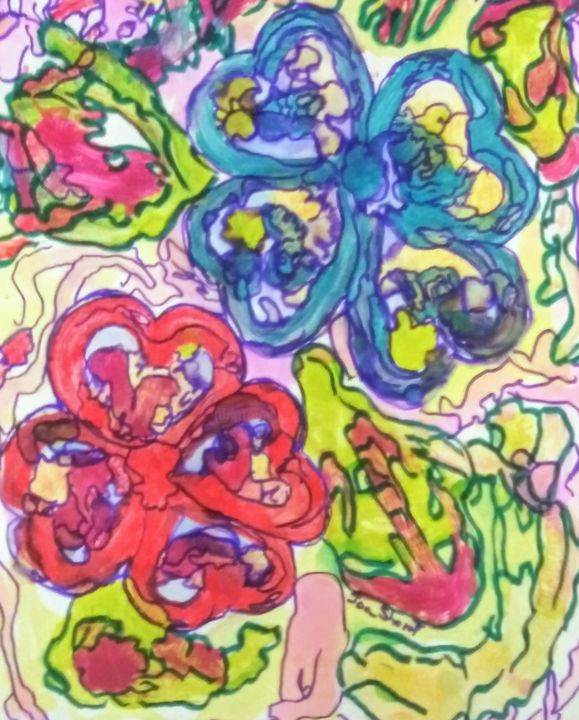 """Painting titled """"Flowers"""" by Joan Short, Original Art, Acrylic"""