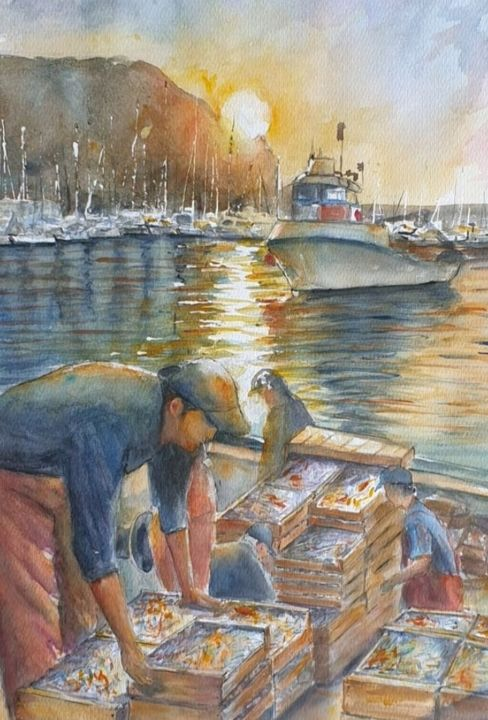 """Painting titled """"Pescadores"""" by Joana Bisquert Mari, Original Art, Watercolor Mounted on Other rigid panel"""