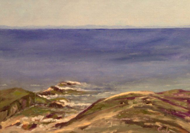 Middle Beach Ledges, Madison - Painting,  9x12x0.4 in, ©2006 by Joan Cole -                                                                                                                                                                          Figurative, figurative-594, seascape Madison Connecticut original oil painting