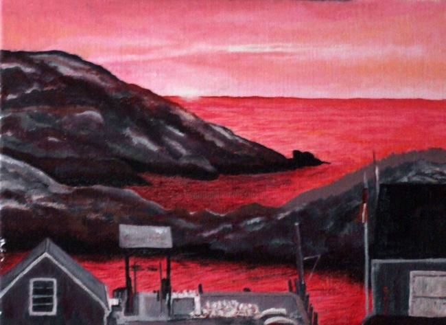 The Dock at Sunset, Monhegan - Painting,  9x12x0.4 in, ©2007 by Joan Cole -
