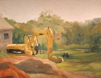 Ashlawn Farm's Excavator - Painting,  8x10 in, ©2007 by Joan Cole -                                                                                                                                                                          Figurative, figurative-594, Connecticut landscape Ashlawn Farm excavator oil on line original painting Impressionistic