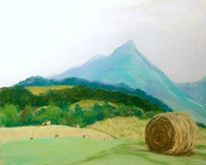 Sharp Top and Hay Bales (pastel) - Painting,  8x10x0.4 in, ©2007 by Joan Cole -                                                                                                                                                                          Figurative, figurative-594, pastel landscape original painting Sharp Top Mountain Blue Ridge Mountains hay bales Virginia