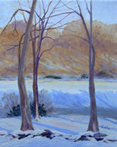 Afternoon Snow - Painting,  10x8x0.4 in, ©2009 by Joan Cole -                                                                                                                                                                          Figurative, figurative-594, A predominantly blue impressionistic original oil painting of a snowy winter New England landscape.
