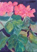 Begonia - Painting,  7x5x0.4 in, ©2009 by Joan Cole -                                                                                                                                                                          Figurative, figurative-594, flowers oil painting original art red begonia