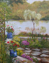 The Garden in Autumn - Painting,  14x11x0.4 in, ©2009 by Joan Cole -                                                                                                                                                                                                                                                                                                              Figurative, figurative-594, Impressionistic original oil painting on linen of my garden, geraniums, and water view in Deep River, Connecticut.