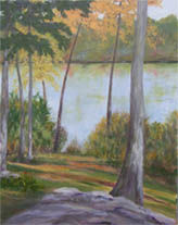 The Lake in Autumn - Painting,  14x11x0.4 in, ©2009 by Joan Cole -                                                                                                                                                                                                                      Figurative, figurative-594, Impressionistic original oil painting on linen of trees in autumn beside Tower Lake in Deep River, Connecticut.