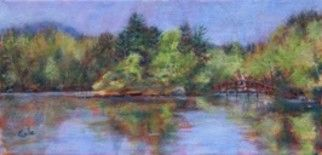 Sunapee Spring - Painting,  6x12x0.4 in, ©2011 by Joan Cole -                                                                                                                                                                                                                                                                  Figurative, figurative-594, Original acrylic painting of Lake Sunapee, New Hampshire, in springtime.