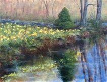 Daffodil Time - Painting,  14x18x0.4 in, ©2011 by Joan Cole -                                                              Original acrylic painting of daffodils in New England.
