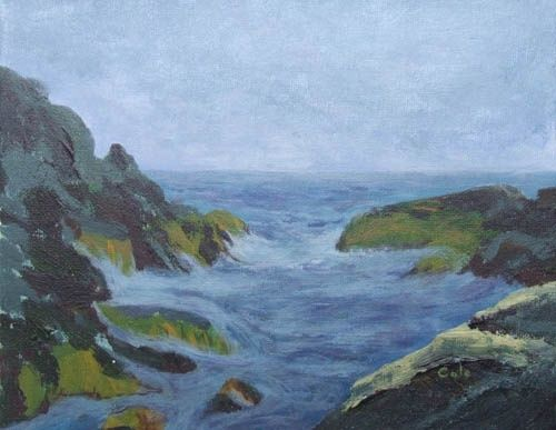 Low Tide, Christmas Cove, Monhegan Island, Maine - Painting,  8x10x0.4 in, ©2011 by Joan Cole -                                                                                                                                                                                                                                                                  Figurative, figurative-594, Original acrylic painting of Christmas Cove on Monhegan Island, Maine, at low tide.