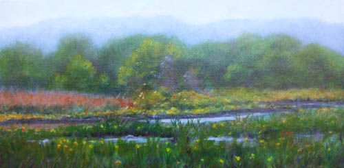 Pratt Cove, Springtime - Painting,  10x20x0.4 in, ©2011 by Joan Cole -                                                                                                                                                                                                                                                                                                              Figurative, figurative-594, Original acrylic painting of yellow irises in springtime in Pratt Cove, on the Connecticut River, Deep River, CT.