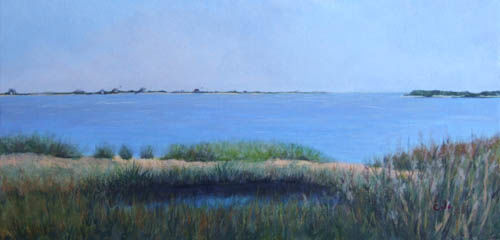 """Private Way,"" Chatham - Painting,  10x20x0.4 in, ©2011 by Joan Cole -                                                                                                                                                                                                                      Figurative, figurative-594, Original acrylic on canvas painting of Chatham Harbor on Cape Cod, Massachusetts"