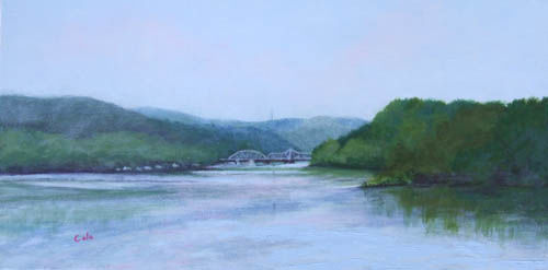 Heading Upriver to Goodspeed's Landing - Painting,  10x20x0.4 in, ©2011 by Joan Cole -                                                                                                                                                                          Figurative, figurative-594, Original acrylic on canvas painting of Haddam-E.Haddam bridge over Connecticut River near Goodspeed's Landing