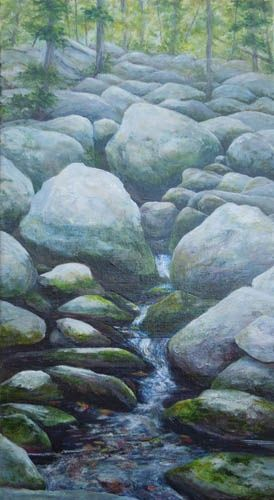 Moraine - Painting,  24x12x0.4 in, ©2012 by Joan Cole -                                                                                                                                                                          Figurative, figurative-594, Original acrylic on canvas painting of lichen-covered boulders tumbling downhill to a pool of  water.