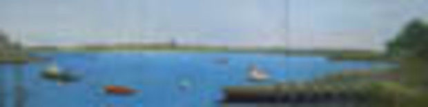 Chatham Harbor - Painting,  10x30x0.4 in, ©2012 by Joan Cole -                                                                                                                                                                                                                                                                                                                                                          Figurative, figurative-594, Original acrylic on 3 canvas panels of  Chatham Harbor, Stage Harbor Light, sailboats, lobsterboats, predominantly blue.