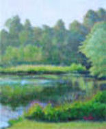 Quiet Cove - Painting,  3.9x3.2x0.4 in, ©2012 by Joan Cole -                                                                                                                                                                                                                                                                  Figurative, figurative-594, Original oil on stretched linen of a lake, trees, and reflections.  Predominant colors are blues and greens.