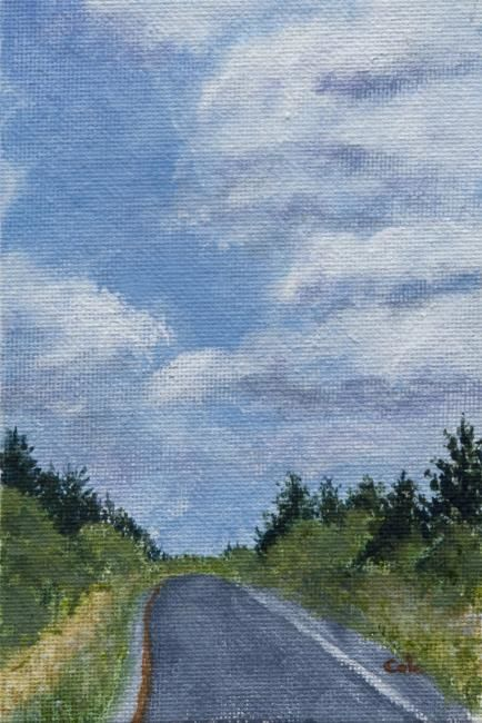 The Road to Maine - Painting,  2.4x1.6x0.4 in, ©2012 by Joan Cole -                                                                                                                                                                          Figurative, figurative-594, Original acrylic on canvasboard of the Maine Turnpike on a sunny summer day with clouds.