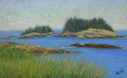Corea View - Painting,  11x15x0.4 in, ©2012 by Joan Cole -                                                                                                                                                                                                                                                                  Figurative, figurative-594, Original pastel on handmade paper of the view from Corea, Maine, of the small islands in Frenchman's Bay.