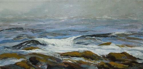 Sea and Fog - Painting,  6x12x0.4 in, ©2013 by Joan Cole -                                                                                                                                                                                                                                                                                                              Figurative, figurative-594, Original acrylic on stretched canvas in purples, greys, and browns of waves on shore of Monhegan Island, Maine.
