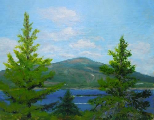 Cadillac Mountain from Schoodic Point - Painting,  3.2x3.9 in, ©2013 by Joan Cole -                                                                                                                                                                                                                      Figurative, figurative-594, Original acrylic on birch panel of a view of Cadillac Mountain in Acadia National Park seen from the top of Schoodic Point, Maine.