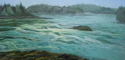 Tidal Falls, Frenchman's Bay Conservancy - Painting,  12x24x0.4 in, ©2012 by Joan Cole -                                                                                                          Original acrylic on stretched canvas of the tidal falls at the Frenchman's Bay Nature Conservancy in Sullivan, Maine.