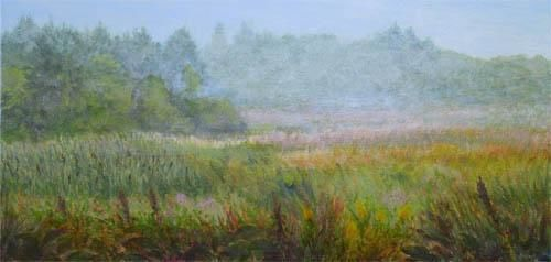 The Meadow - Painting,  10x20x0.4 in, ©2012 by Joan Cole -                                                                                                                                                                                                                      Figurative, figurative-594, Original acrylic on stretched canvas of the meadow on Monhegan Island, Maine.