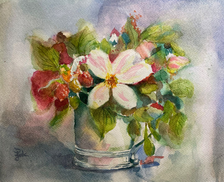 """Painting titled """"Berries and Such"""" by Joanna Zakrzewski, Original Art, Watercolor"""