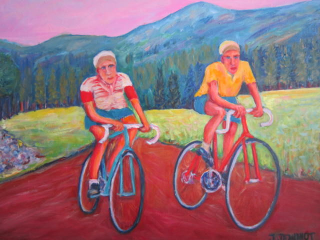 Au  temps  d' Eddy Merckx - Peinture,  19,7x24x0,6 in, ©2020 par Joel Jeanniot -                                                                                                                                                                                                                                                                                                                                                                                                                                                                                                                                                                                                                                                                                                                                                                                                                      Impressionism, impressionism-603, Hommes, Nature morte, Montagne, artwork_cat.Sports, Bruxelle, Paris, Vesoul, Lyon, Grenoble, Alpes D'huez, Dijon, Port sur Saône, tour de France, cyclisme, Liège -Bastogne-Liège
