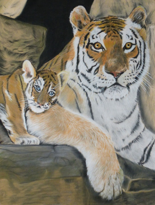 Tigre et son petit - art animalier - Peinture,  19,7x15,8 in, ©2018 par joelle Guillaume -                                                                                                                                                                                                                                                                                                                                                                                                                                                                                                                                                                                                                                                                                  Figurative, figurative-594, Animaux, tigre, félin, feline, tiger, tiger and his little, pastel painting, animal sauvage, wild animal, art animalier, peinture animalière, pastel animalier