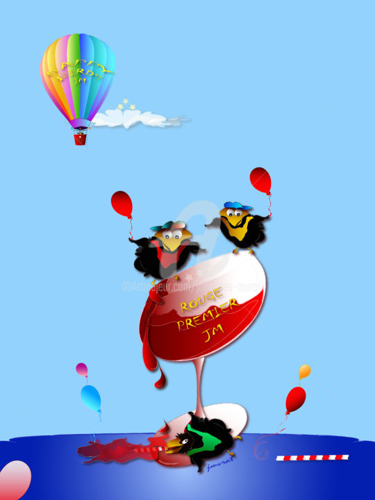 Happy Birds Rouge Premier by Johannes Murat - Digitale Künste, ©2016 von Johannes Murat -                                                                                                                                                                                                                                                                                                                                                                                                                                                                                                                                                                                                                                                                                                                                                                                                                                                                                                                                                                                                                                                                                                                                                                                                                                                                                                                          Illustration, illustration-600, Humor, Wine, Joy, Premier, Vin, Rouge, France, Village, Humor, Children, Birtday, Sister, Brother, Mother, Parents, Father, Grandma, Grandpa, Gallery, Art Print, Johannes, Murat, Happy, Bird, Celebration, Red