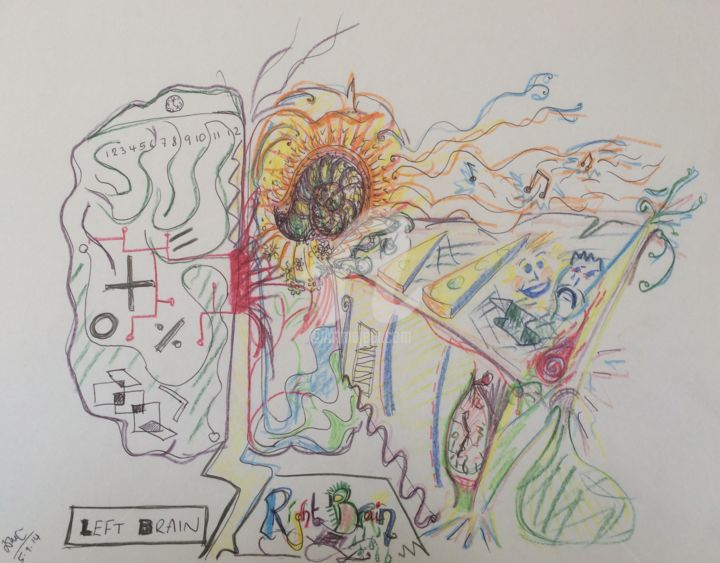 """Drawing titled """"The brain in two ha…"""" by Torquil, Original Art,"""