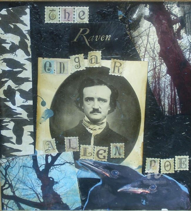 """Collages titled """"Poe I"""" by John G. Merlino, Original Art, Collages"""