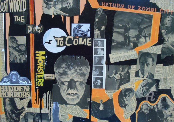 """Collages titled """"Universal Halloween"""" by John G. Merlino, Original Art, Collages"""