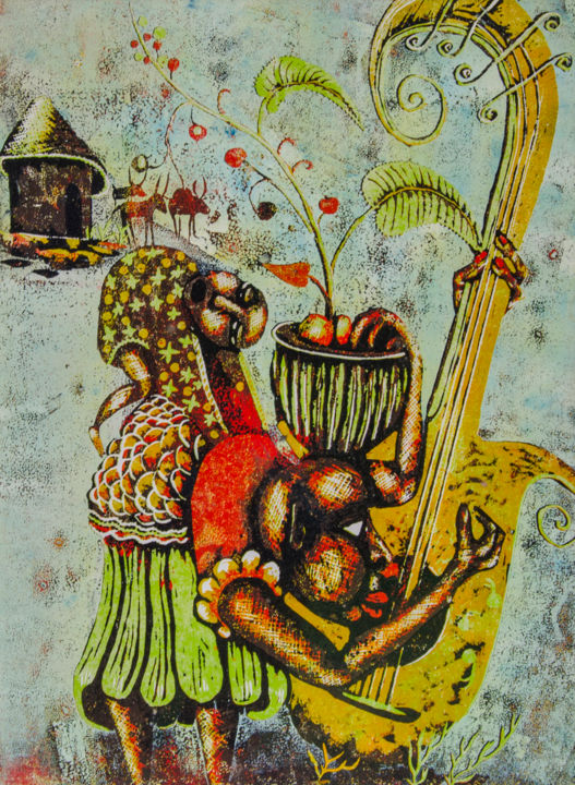 """Printmaking titled """"The song of my love"""" by John Silver Kimani, Original Art, Xylography"""