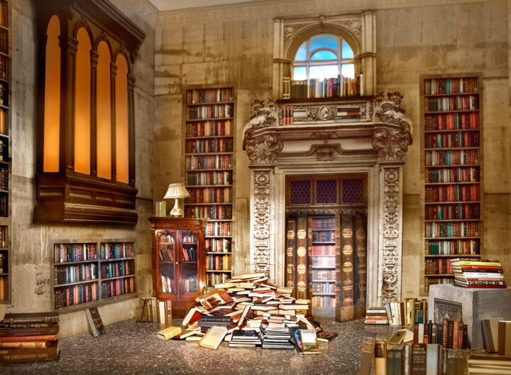 The Library - Photography,  22x30x0.1 in, ©2016 by John Manno -                                                                                                                                                                                                                                                                                                                                                                                                                                                                                                                                                                                                                                      Conceptual Art, conceptual-art-579, Fantasy, book, books, library, literature, reading, publishing, novel, chaos, information, learning