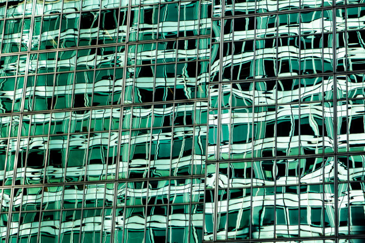 On 6th Avenue - Photography,  13.3x20x0.1 in, ©2019 by John Manno -                                                                                                                                                                                                                                                                                                                                                                                      Architecture, windows, reflection, office, skyscraper, abstract, green, pattern