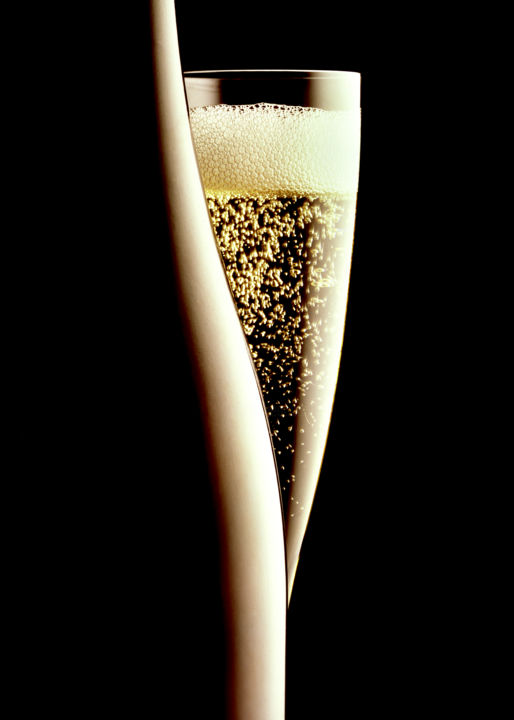 Champagne Silhouette - Photography,  28x20x0.1 in, ©1984 by John Manno -                                                                                                                                                                                                                                                                                                                                                                                                                                                                                                                                                                      Food & Drink, champagne, wine, bubbles, silhouette, silo, black, drama, dramatic, alcohol, bottle, glass